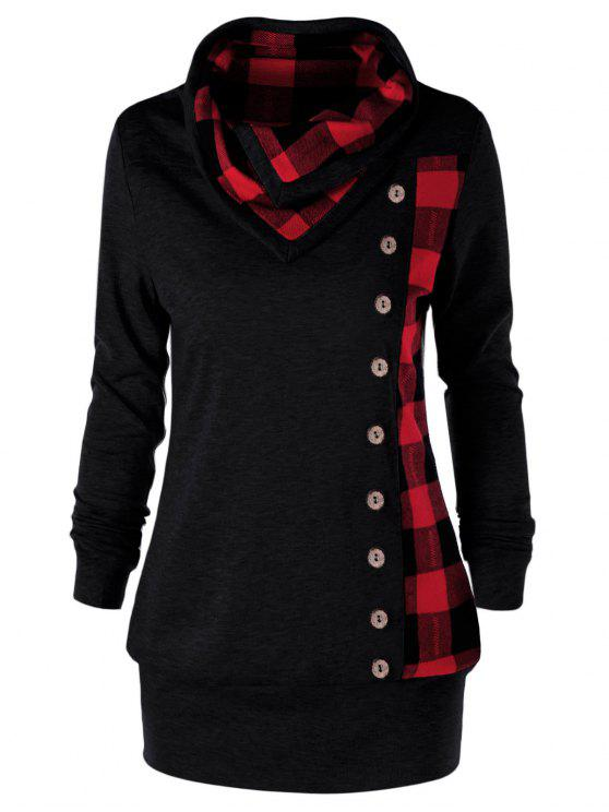 shop Plus Size Plaid Cowl Neck Sweatshirt - RED WITH BLACK 5XL