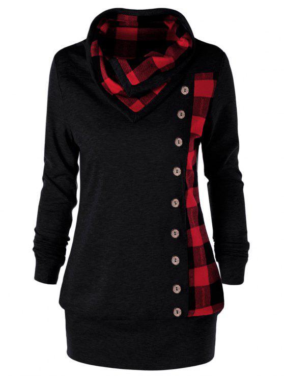 new Plus Size Plaid Cowl Neck Sweatshirt - RED WITH BLACK XL