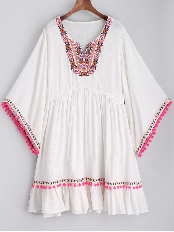 women Embroidered Pom Poms Smock Beach Dress - WHITE L