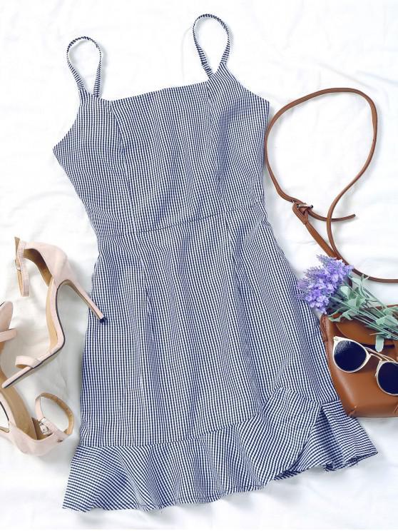 hot Back Zip Checked Ruffles Mini Dress - BLUE M