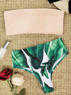 Palm Leaf Strapless High Cut Bikini Set - Pink M