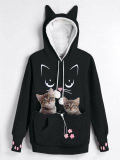 Plus Size Cat Carrier Pouch Pocket Hoodie - Black 3xl