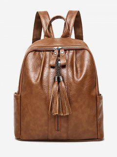 PU Leather Tassels Backpack - Brown