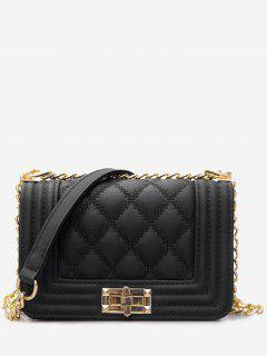 Twist Lock Quilted Faux Leather Crossbody Bag - Black