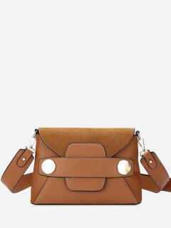 Minimalist Metal PU Leather Crossbody Bag - Brown