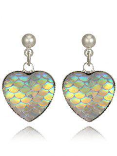 Valentine's Day Heart Shape Fish Scale Drop Earrings
