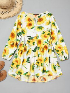 Tassels High Low Sunflower Mini Dress - Yellow S
