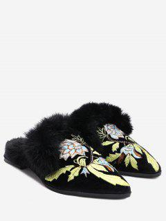 Flower Embtoidered Mules Shoes - Black 39