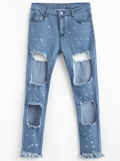 Zipper Fly Frayed Cut Out Jeans - Blue L