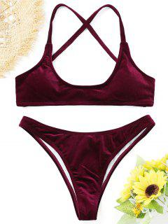 Samt High Cut Bikini Set - Magenta L