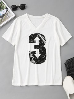 V Neck Number Print T Shirt - White M