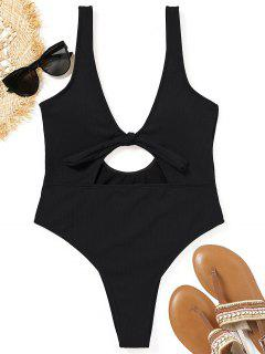 Cutout Ribbed High Cut Swimsuit - Black S