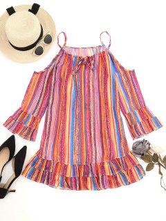 Stripes Cold Shoulder Ruffle Mini Dress - Jacinth S