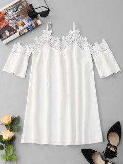Lace Panel Cold Shoulder Mini Dress - White L