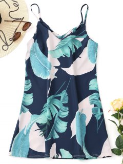 Slip Tropical Printed Mini Dress - Cadetblue L