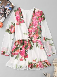Floral Chiffon Ruffle Romper - White M