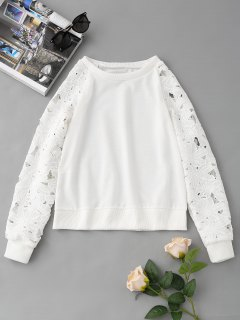 Sudadera Raglan Sleeve Lace Panel - Blanco S