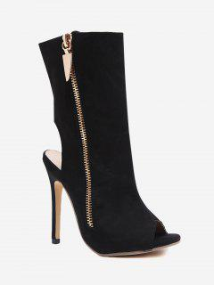 Slingback High Heel Peep Toe Boots - Black 38