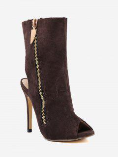 Slingback High Heel Peep Toe Boots - Brown 38
