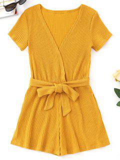 Belted Knitted Ribbed Romper - Ginger L
