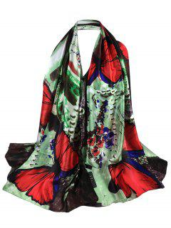 Unique Butterfly Printed Long Silky Scarf - Red