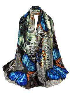 Unique Butterfly Printed Long Silky Scarf - Blue