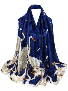 Simple Light Elegant Swan Printed Sheer Scarf - Cadetblue