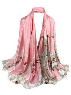 Simple Light Elegant Swan Printed Sheer Scarf - Pink