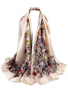 Soft Light Elegant Floral Printed Sheer Scarf - Light Pink