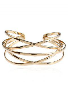 Simple Multilayered Geometric Cuff Bracelet - Golden