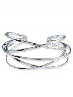 Simple Multilayered Geometric Cuff Bracelet - Silver