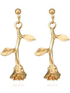 Valentines Day Rose Drop Earrings - Golden