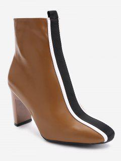Chunky Heel Color Block Striped Short Boots - Deep Brown 36