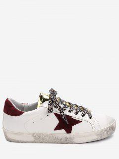 Star Patched Metallic Tongue Skate Shoes - White 35