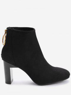 Back Zip Block Heel Short Boots - Black 36