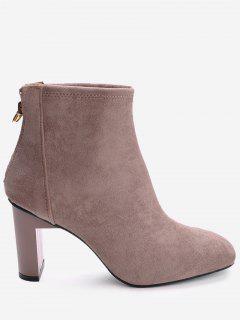 Back Zip Block Heel Short Boots - Pink 36