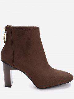 Back Zip Block Heel Short Boots - Deep Brown 39