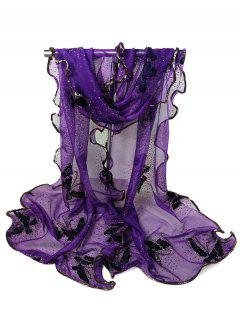 Flying Butterfly Pattern Decorated Sheer Scarf - Deep Purple
