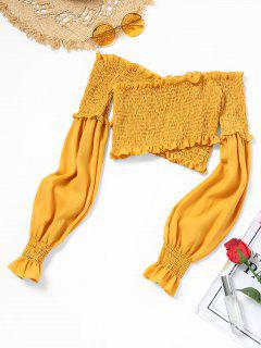 Schulterfrei Rüschen Smocked Crop Bluse - Gelb Xl