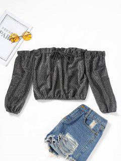 Schulterfreie Rüschen Crop Glanzende Bluse - Perle Dunkel Grau M