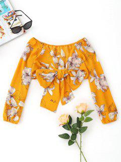 Floral Bowknot Wrap Cropped Top - Mustard S