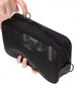 Breathable Multifunction Mesh Travel Makeup Bag - Black