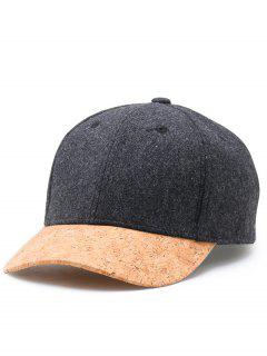 Simple Line Embroidery Faux Wool Baseball Cap - Dark Gray
