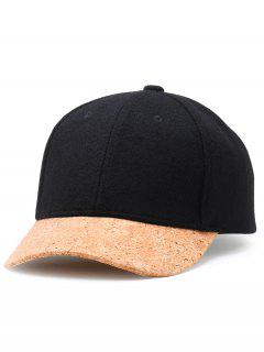 Simple Line Embroidery Faux Wool Baseball Cap - Black