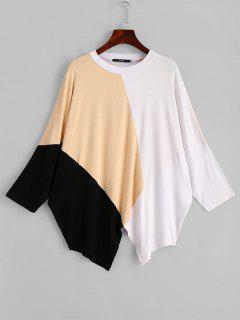 Dolman Sleeve Contrast Asymmetric Tee - Multi
