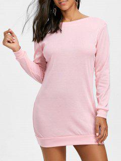Mini Robe Sweat-shirt Découpé à Empiècement En Dentelle - Rose  Xl