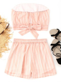Back Tie Stripes Tube Top And Shorts Set - Pinkbeige L