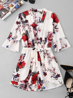 Belted Tiered Floral Romper - White L