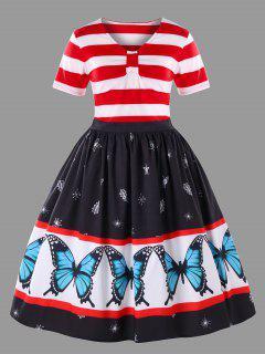 Vestido De Oscilación Del Patrón De Mariposa Más El Tamaño - Rojo+blanco 5xl