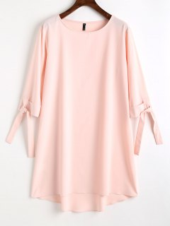 High Low Tied Sleeve Mini Dress - Pink M